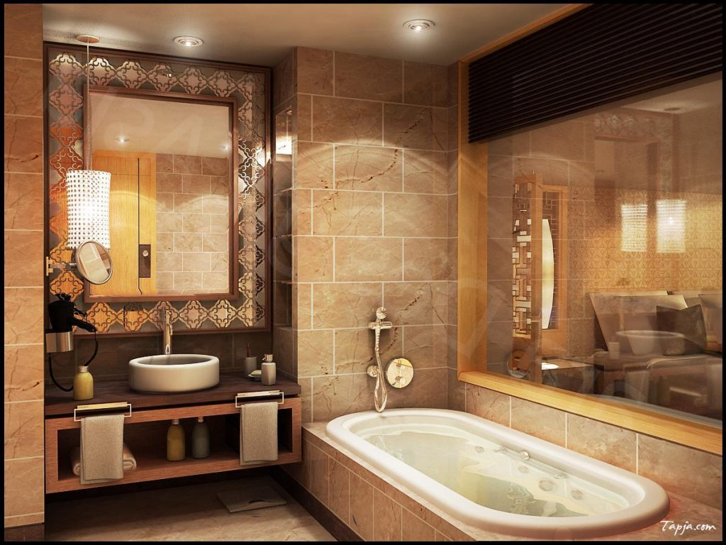 stunning-bathroom-sink-design-with-round-shaped-on-wooden-vanity-including-elegant-mirror-wall-mounted-also-lighting-in-ceiling-plus-pendant-lamps-above-vanity-sink
