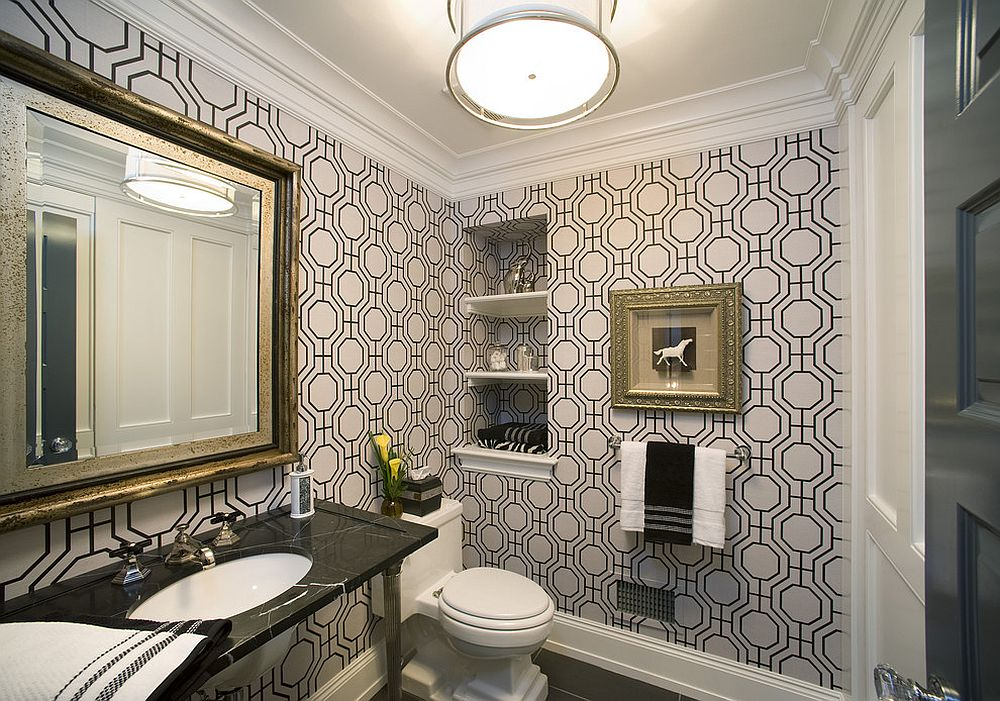 modern-powder-room-with-geo-style-wallpaper