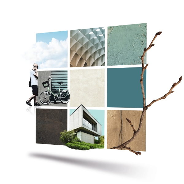 9 Grid, Inspiration tool, arhcitects folder, intro, mood, Retouche with private pictures (sky, wall, man and bike/hipster), shutterstock 163411577 (twig); shutterstock 78880651 (concrete house), Reference (autobahnkirche siegerland), decors: F283, U646, U500, F547, F166, H1180