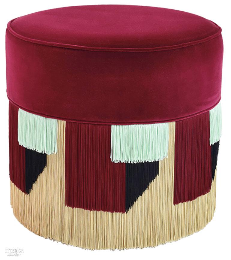 1. Taburet couture tapițat cu catifea de bumbac, vascoză și umplutură sintetică de Luisa Via Roma